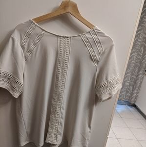 H&m cream crotchet detail t-shirt blouse